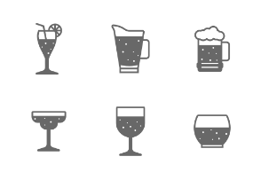 Solid icon set - glass and beverage