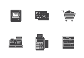 Supermarket. Grocery store. Glyph. Silhouettes