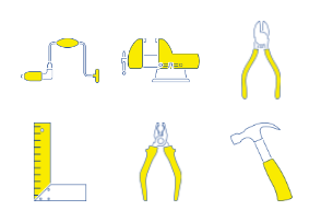 Tools outline with yellow