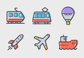 Transportation icons colored