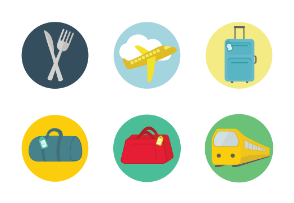 Travel and Transportation flat colorful SVG icons