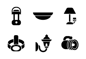 Types of lighting for outdoor and indoor use in glyph style