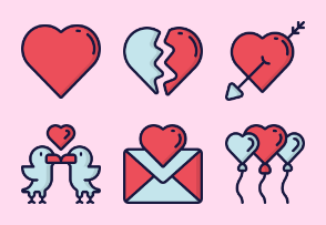 Valentines (love) - Blue Red