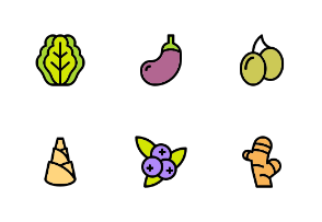 Vegetables and Fruits (colored)