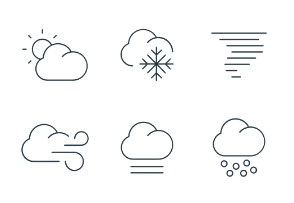 Weather icons in thin line style