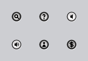 White buttons for navigation