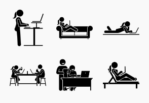 Woman using computer on different postures, poses, and places.
