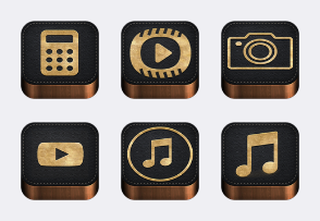 wood leather apple icons