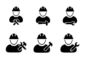 Worker Icons - Construction, Engineer, Craftsmen, Workman Icons