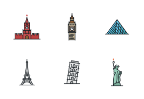 World Landmarks and Sights (Colored)