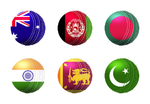 Flags in Cricket Ball Flat Color