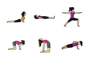 Yoga Pose Outline Color